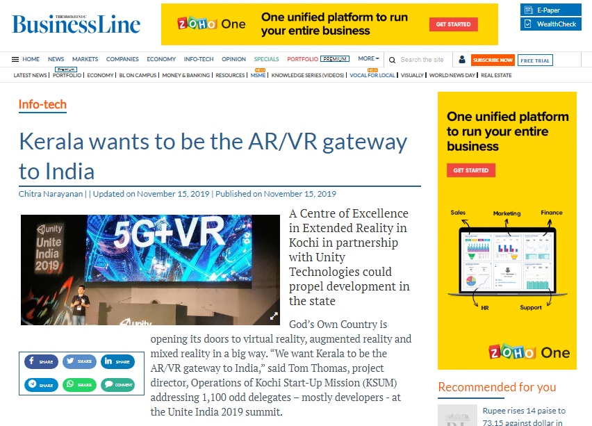 screenshot of online news by business line showing AR/VR gateway to india by Tiltlabs, VR development company in india